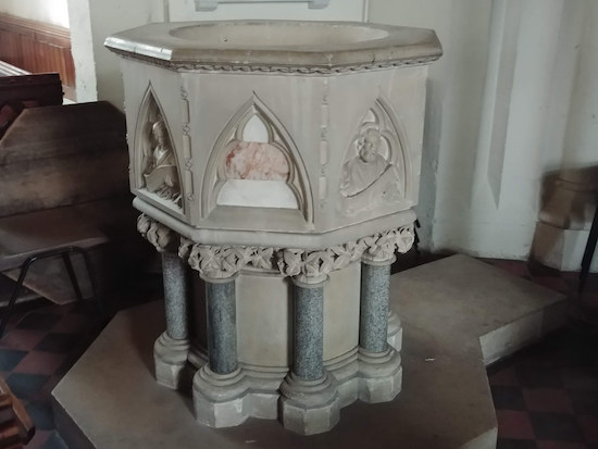 St Mary's font installed about 150 years after John Clarke was vicar Image by the North Mymms History Project Released via Creative Commons BY-NC-SA 4.0