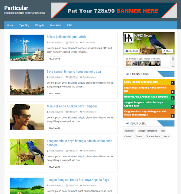Particular - Personal Blogger Template