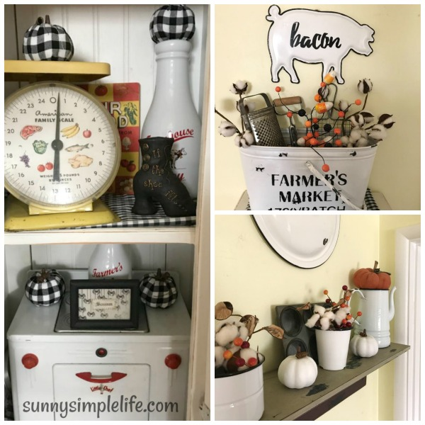 Hobby Lobby, vintage kitchen, gingham pumpkins