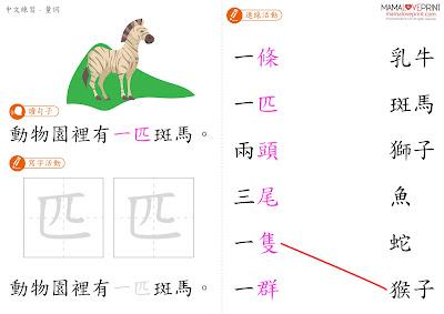 [更新2套] Mama Love Print 自製工作紙 - 中文量詞 - 身體部位 / 水果 / 物件/ 自然 / 動物 - 中文幼稚園工作紙  Kindergarten Chinese Worksheet Free Download