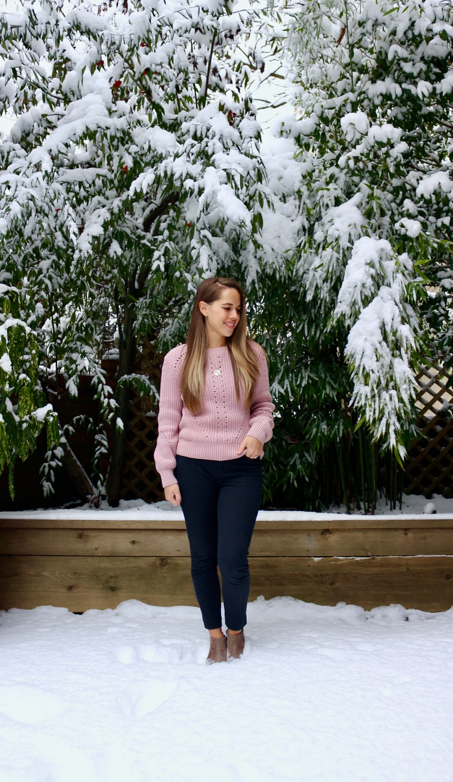 Jules in Flats - Pink Knit Sweater + Ankle Boots (Business Casual Winter Workwear on a Budget)