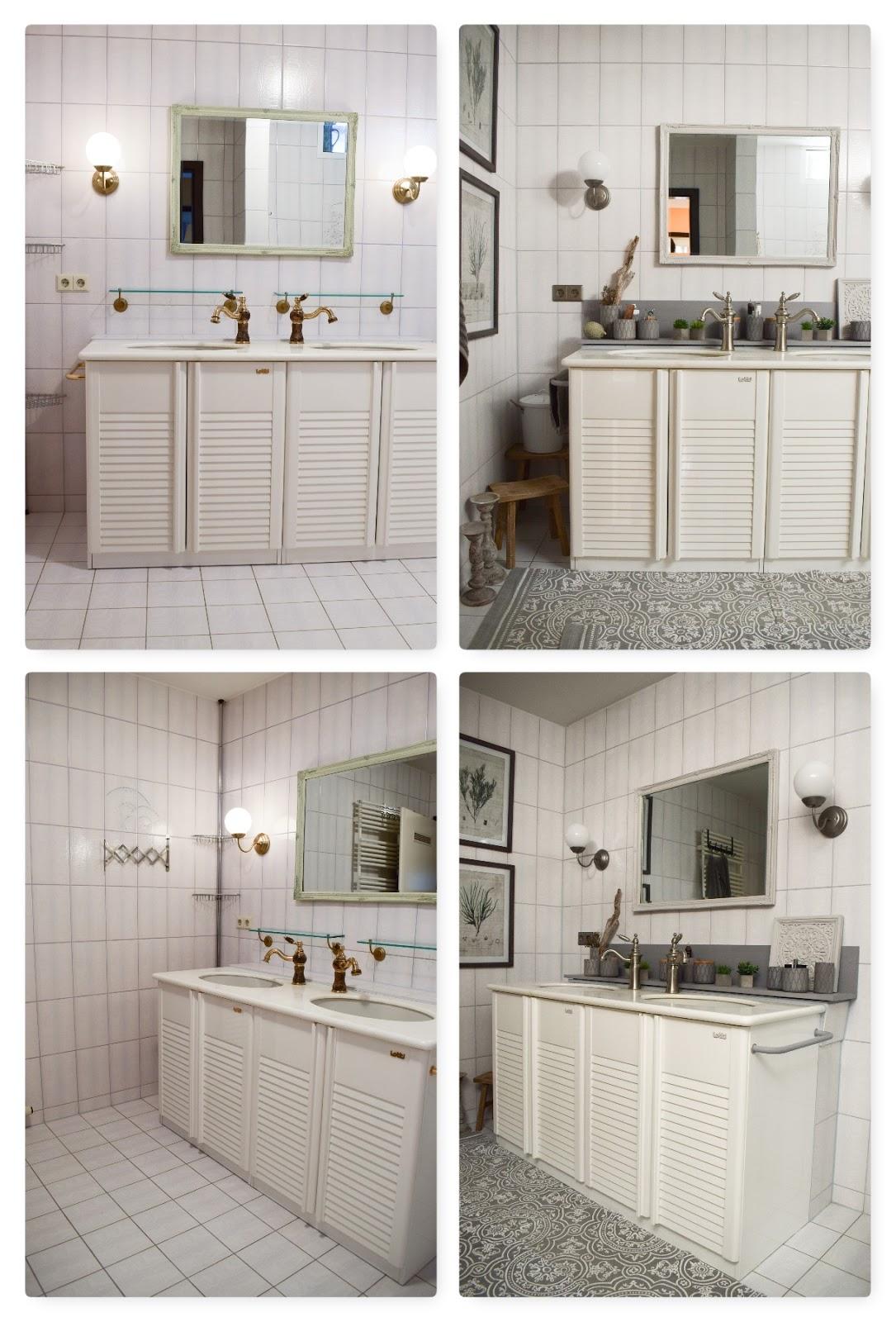 Badteppich Dekoidee Deko alte Fliesen. Teppiche aus Baumwolle für dein Bad. Verschönerung Badezimmer mit einfachen Mitteln Vorher Nachher