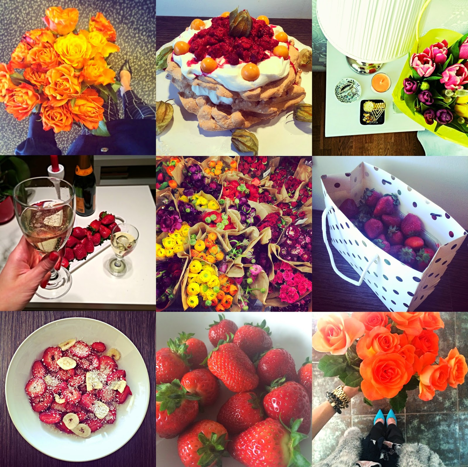 100 happy days flowers champagne cakes strawberries love red