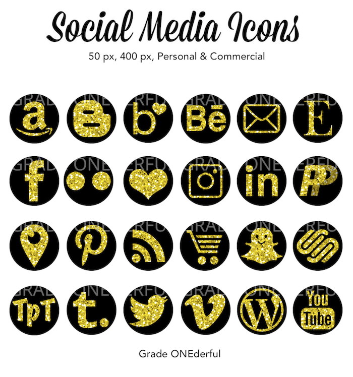 Digital Social Media Icons: Gold glitter on black