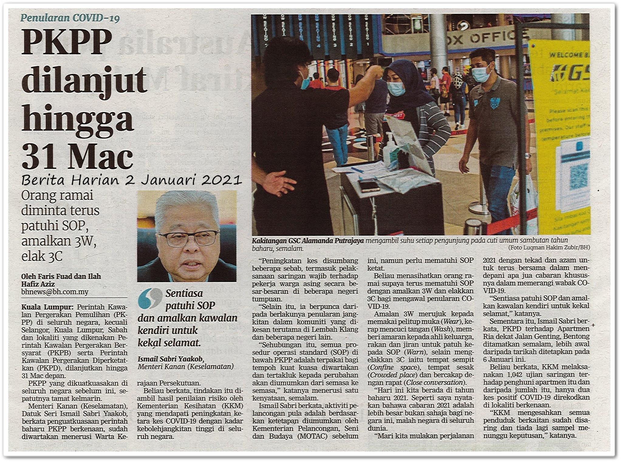 PKPP dilanjut sehigga 31 Mac - Keratan akhbar Berita Harian 2 Januari 2021