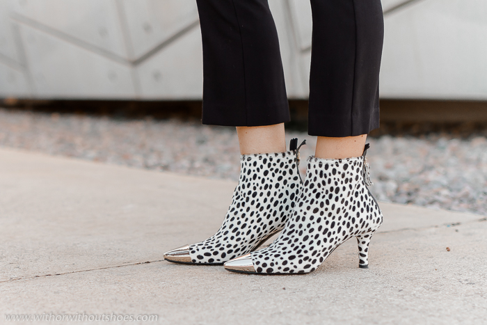 botines animal print estampado dalmata blanco y negro puntera metalica AGL made in Italy