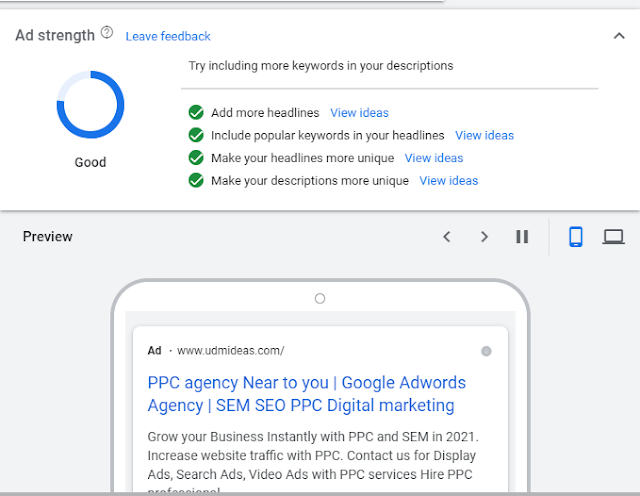 Preview and Ad strength Showing Good in Google AdFor UDMIDEAS