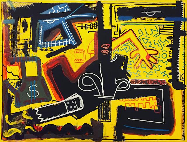 Gabriel D'Elia contemporary yellow painting drinking man hangover Gaudifond Arte