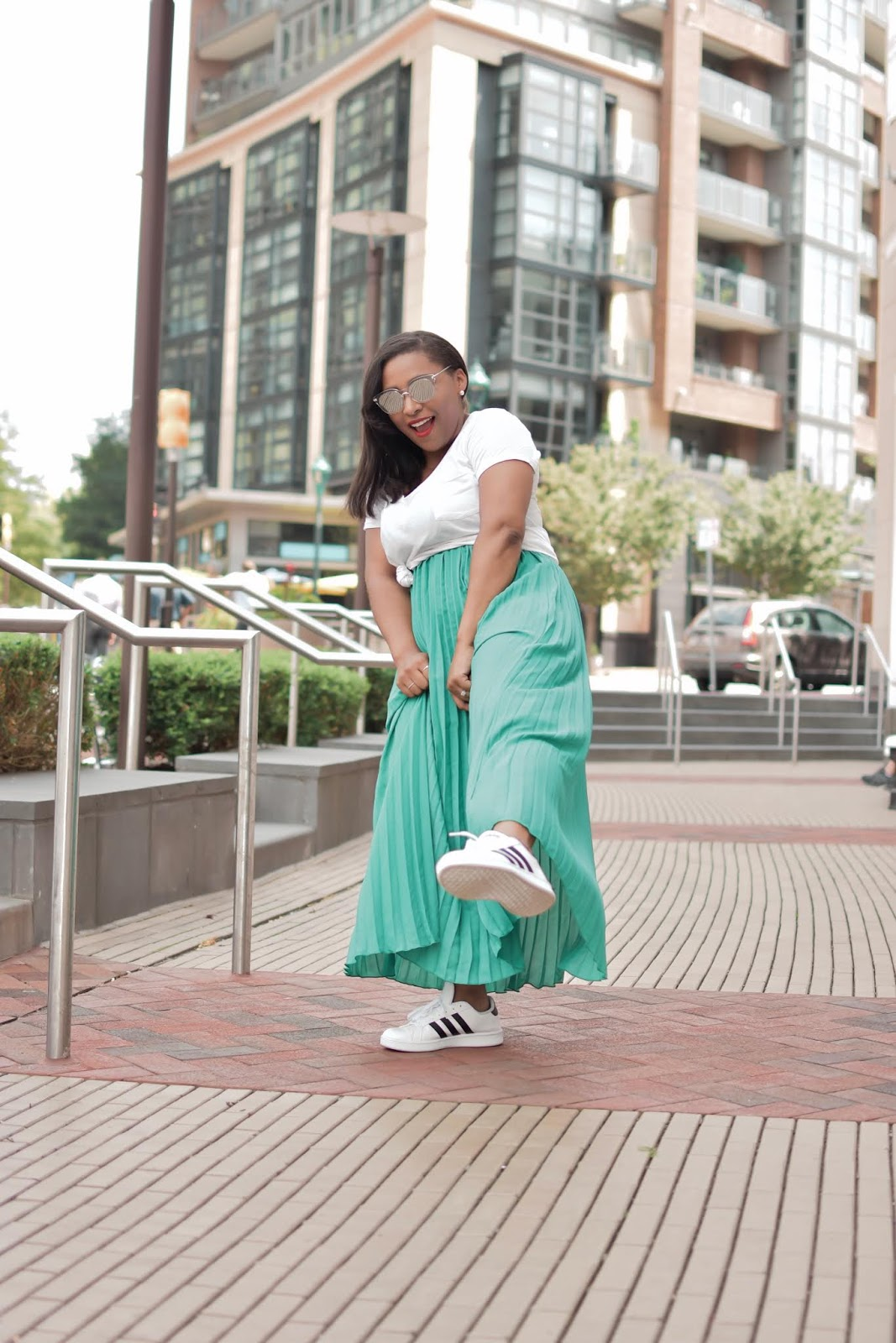 pleated dress, shein, shein clothing, sneakers and a dress, comfortable mom outfits, pattys kloset