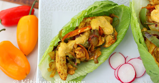 Spicy Chicken Lettuce Wraps with Curried Yogurt Dressing