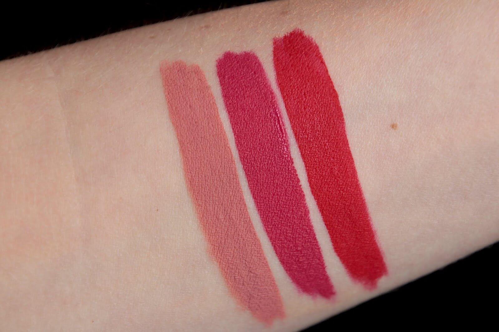 Korres Morello Matte 06 romantic nude 53 red velvet 29 strawberry kiss swatch