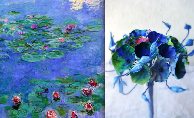 Matrimonio in stile monet: bouquet da sposa di fiori di carta