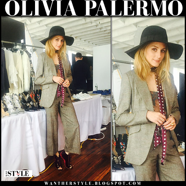 Olivia Palermo in tailored suit and black wide brim hat what she wore chelsea28
