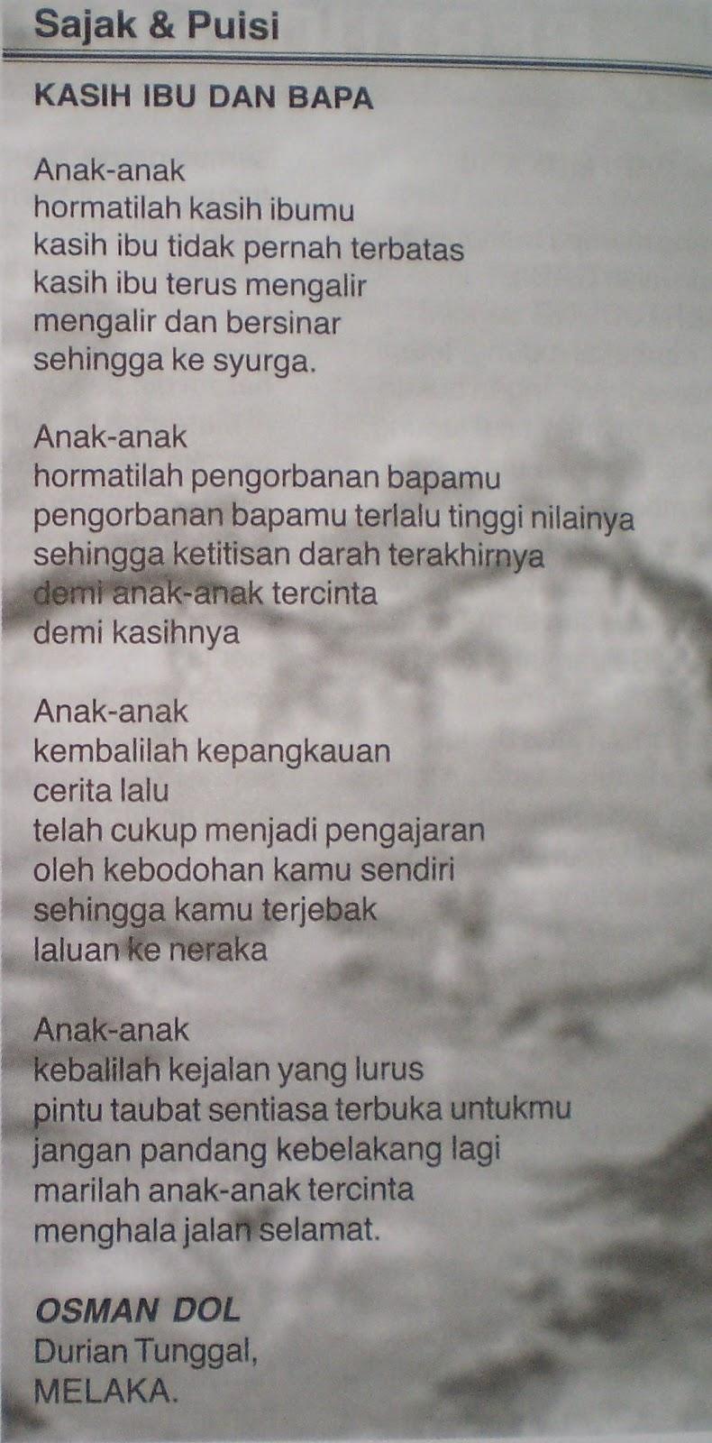 Sajak Ibu dan Bapa | Seronoknya Belajar Bahasa Melayu....