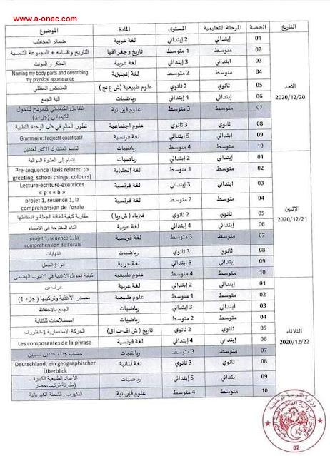 برنامج الدروس التدعيمية على القناة السابعة للتلفزيون الجزائري