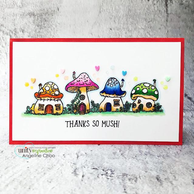 ScrappyScrappy: Happy 11th Birthday Unity Stamp! - Thanks so mush #scrappyscrappy #unitystampco #card #cardmaking #papercraft #handmadecard #unitystampbirthday #mushroomvillage #thankssomush #mushrooms #rainbowmushrooms #copicmarkers #nuvojeweldrop #confettihearts #thankyoucard