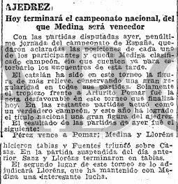 Recorte del diario ABC sobre el Campeonato de España de Ajedrez de 1944