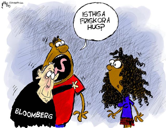 Mike Bloomberg hugs a black man as the black guy asks,