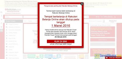 Pengumuman bahwa Rakuten Indonesia akan tutup pada 1 Maret 2016 | SurveiDibayar.com