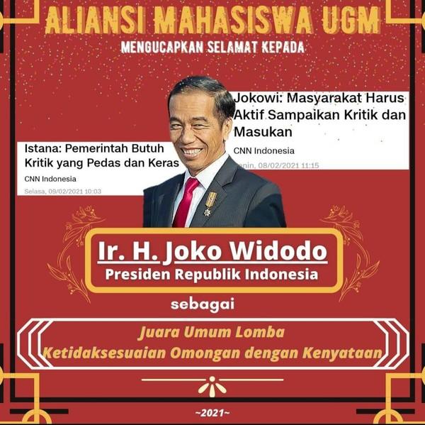 Lawan Pembungkaman! Aliansi Mahasiswa UGM Tambahi 'Gelar Juara' untuk Jokowi