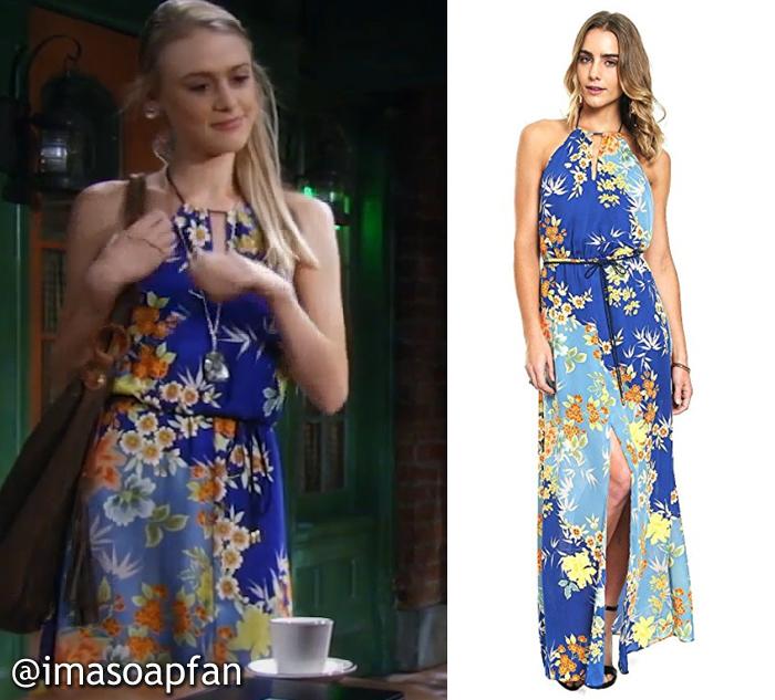 Kiki Jerome, Hayley Erin, Blue Floral Print Maxi Dress, Guess, General Hospital, GH