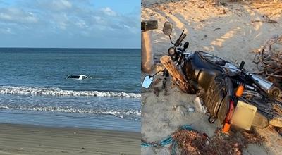 Veículos são furtados de residência em Pernambuquinho e abandonados na praia; carro ficou submerso