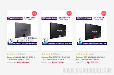 Harga SSD Samsung Terbaru