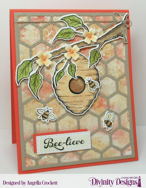 Divinity Designs LLC Bee-Lieve Stamp/Die Duos, Custom Dies: A2 Portrait Card Base with Layers, Quilted Honeycomb Background, Double Stitched Rectangles, Sewing Kit; Card Designer Angie Crockett