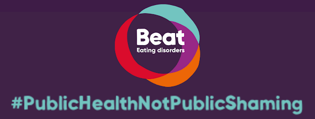 Purple background with the Beat orange, purple, red, turquoise logo and below in turquoise text is the hashtag Public Health not Public Shaming