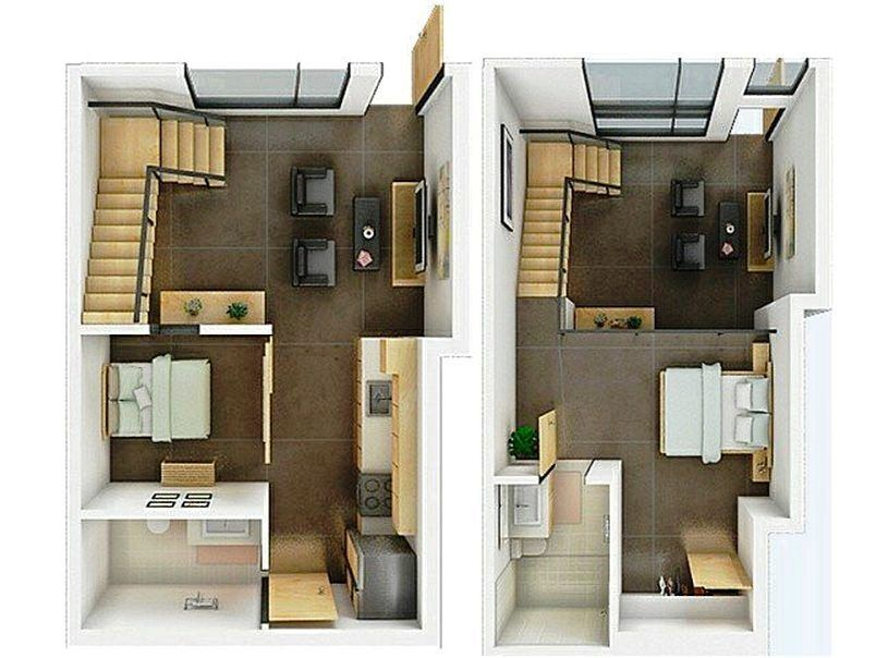 Contoh Gambar Denah Rumah Minimalis 3D 2 Lantai
