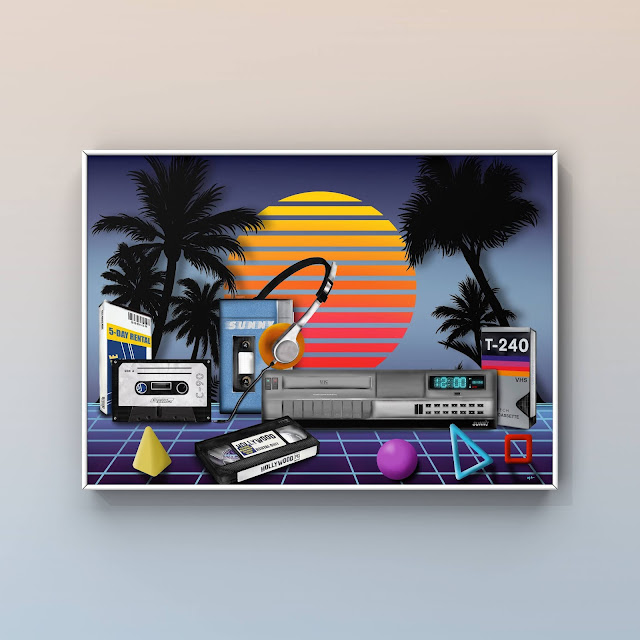 vintage tech art with palm trees
