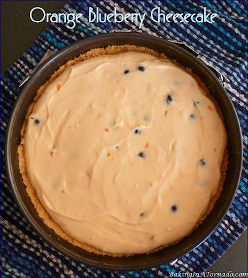 Orange Blueberry Cheesecake, bursting with orange flavor and studded with fresh blueberries. | Recipe developed by www.BakingInATornado.com | #recipe #dessert