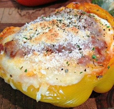 LOW CARB LASAGNA STUFFED PEPPERS #diet #glutenfree