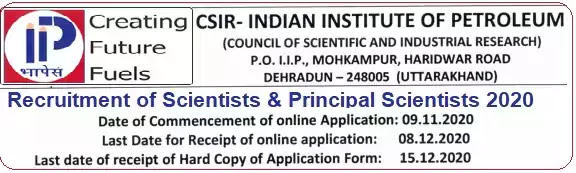 Scientist Vacancy Recruitment IIP Dehradun 2020