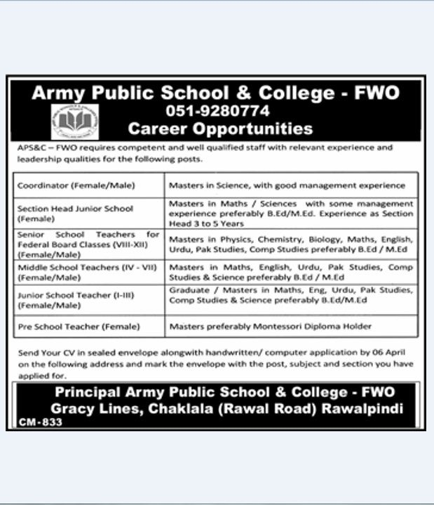 APS, FWO Rawalpindi Jobs Army Public School & College