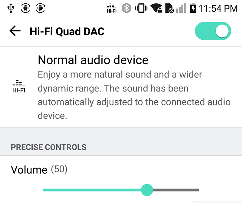 V20's HiFi audio settings