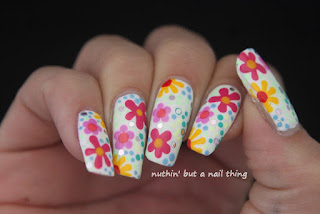 Bright flower nail art design ideas