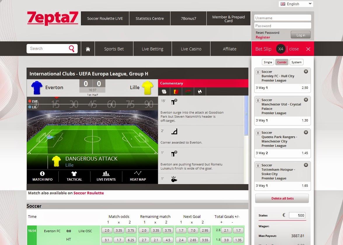 7epta7 Live Betting Screen