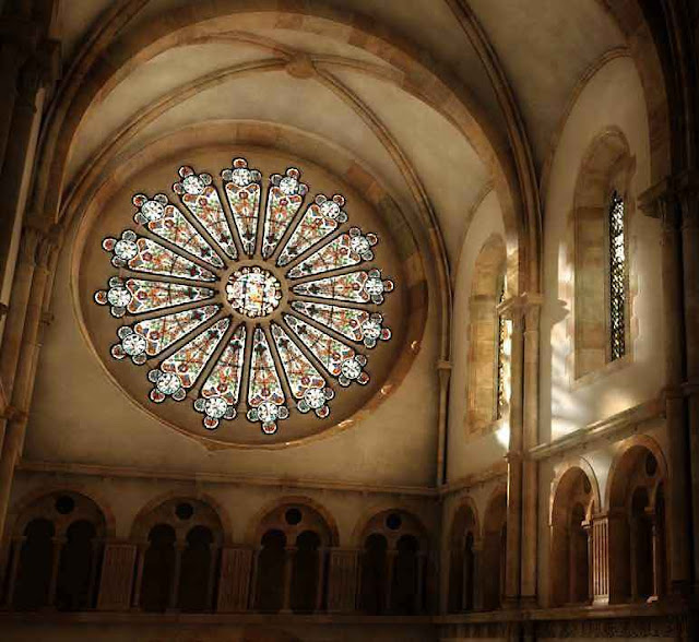 Rosácea da igreja principal de Cluny, segundo reconstituição digital