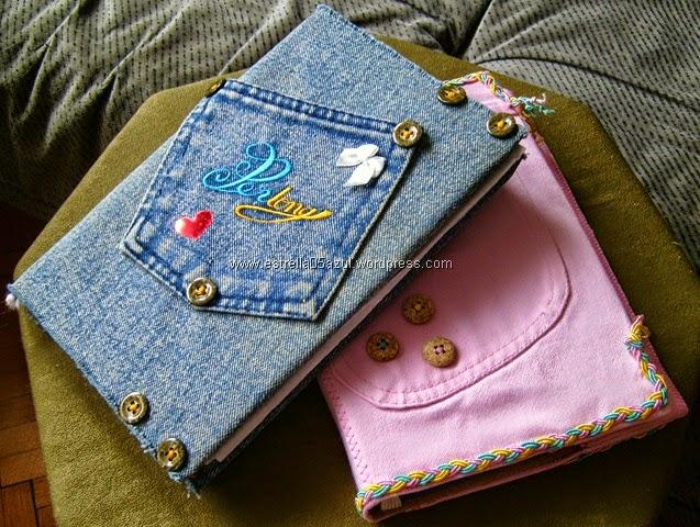 Book Cover Black Jeans : Reciclando o jeans capas para cadernos e livros