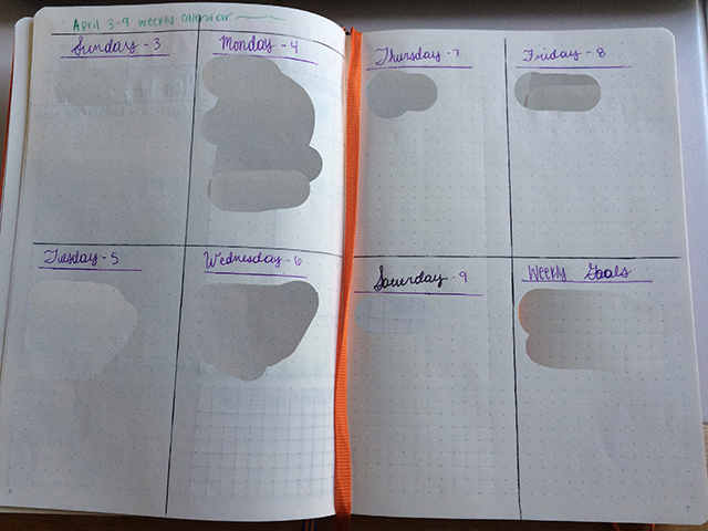 bullet journal weekly calendar planner