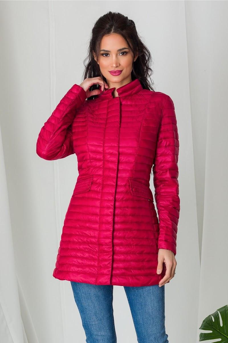 Geaca Dara rosie lunga de primavara, imbracate la moda