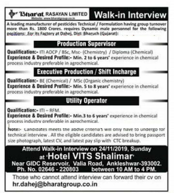 Bharat Rasayan Limited walk-in interview for Production & Utility departments on 24th Nov' 2019