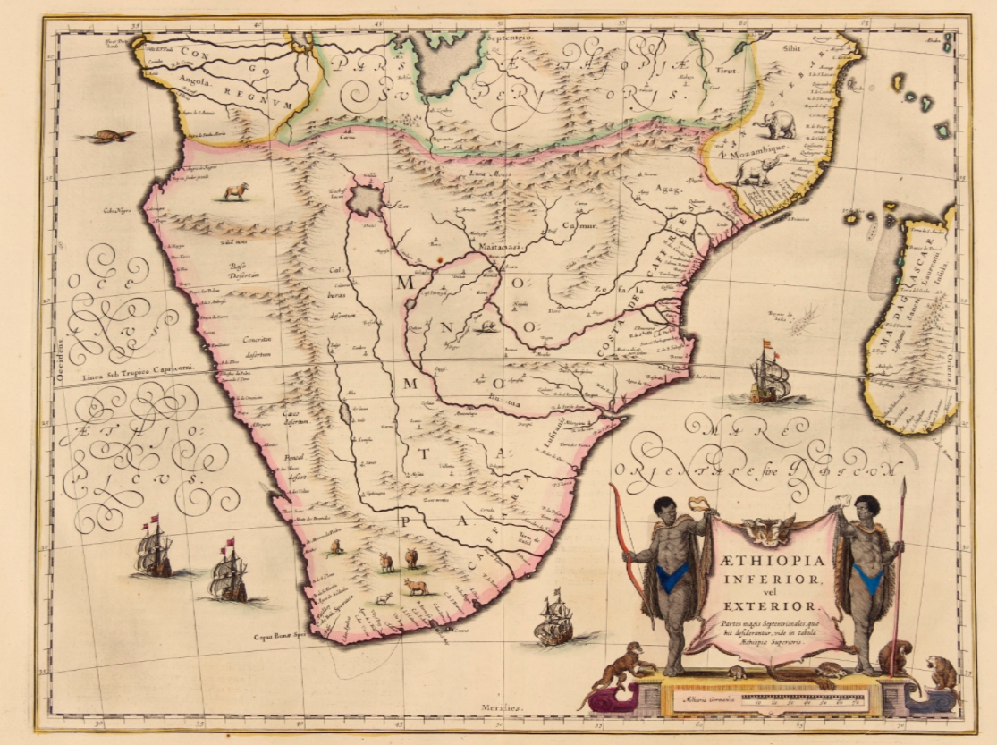 1635 map of south africa by blau shows southern africa before the dutch colonized it