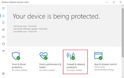 Mematikan Windows Firewall Melalui Windows Defender