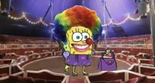 Polosan meme badut / clown 19 - Spongebob menjadi badut dan tersenyum seperti senyuman pepsodent