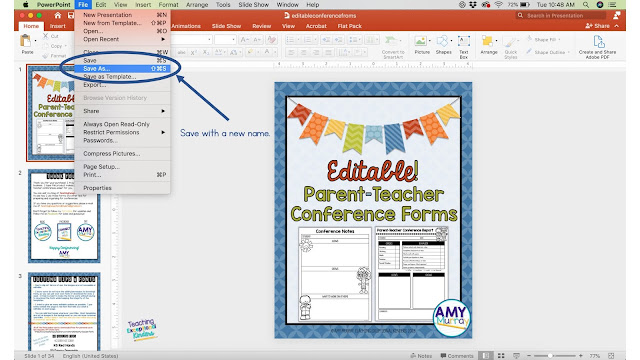 screenshot to show how to save and rename your powerpoint