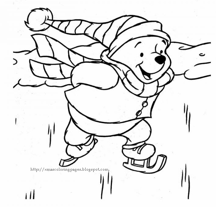 Disney Coloring Pages Winnie The Pooh Coloring Page Ice Skating