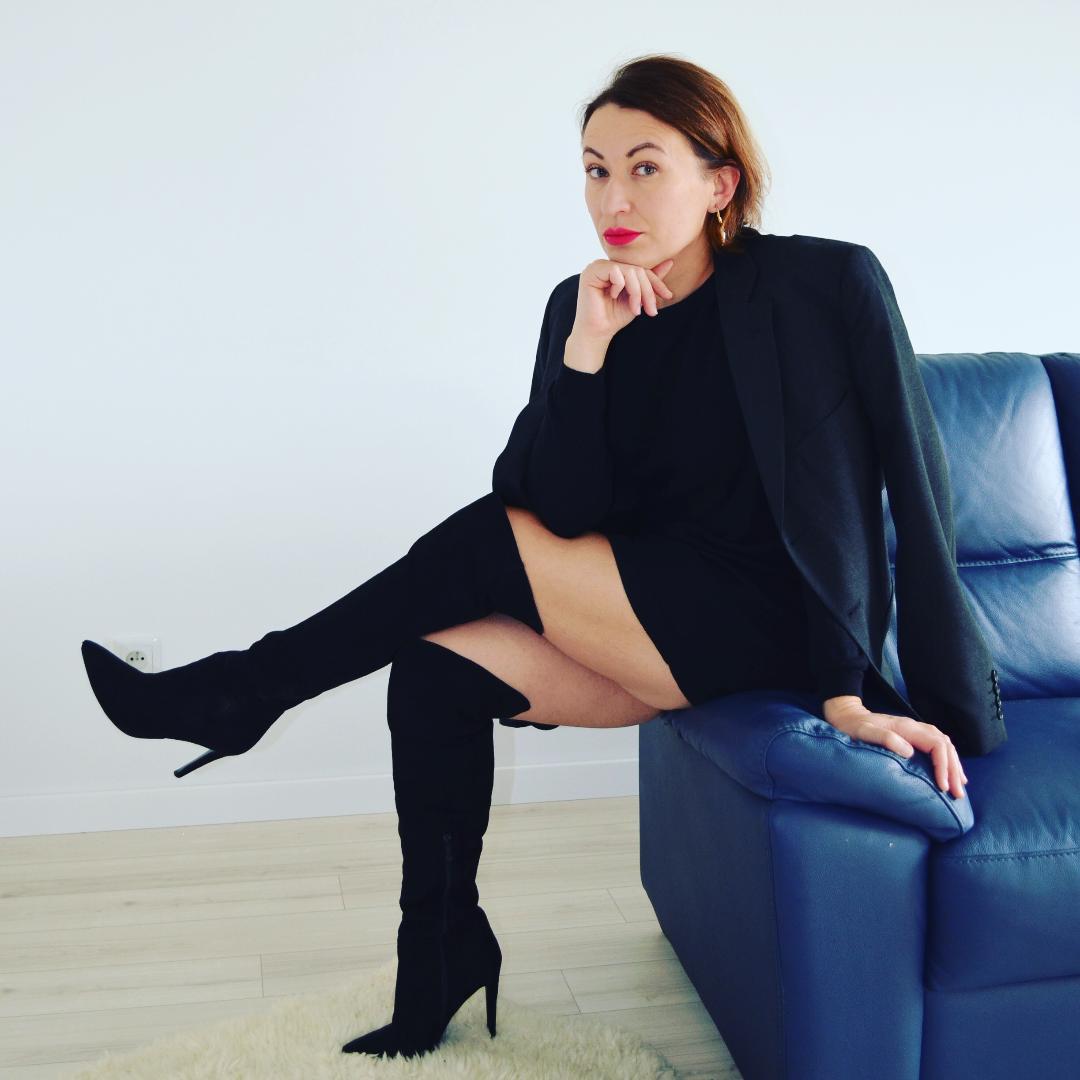Marks & Spencer Blazer,Asos Mini Dress,Zara Over Knee Boots,Freya Treasures Earrings,