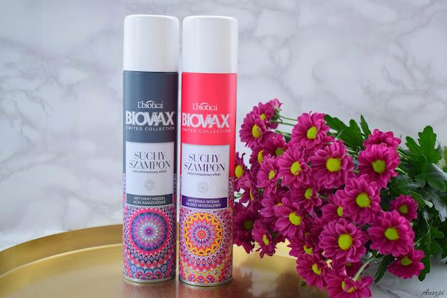 Suchy szampon Biovax L'Biotica: Japońska wiśnia i mleko migdałowe, Aktywny węgiel i acai amazońskie